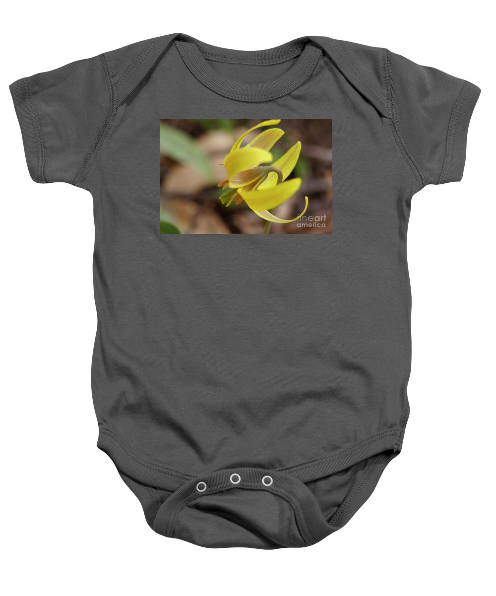 Baby Onesie featuring the photograph Spring Yellow Flower by Line Gagne