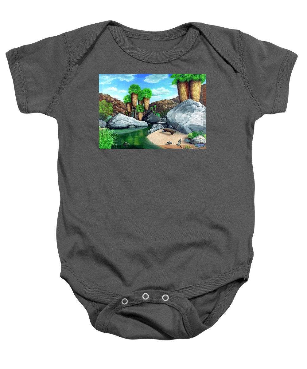 Landscape Baby Onesie featuring the painting Springtime In The Canyons by Snake Jagger