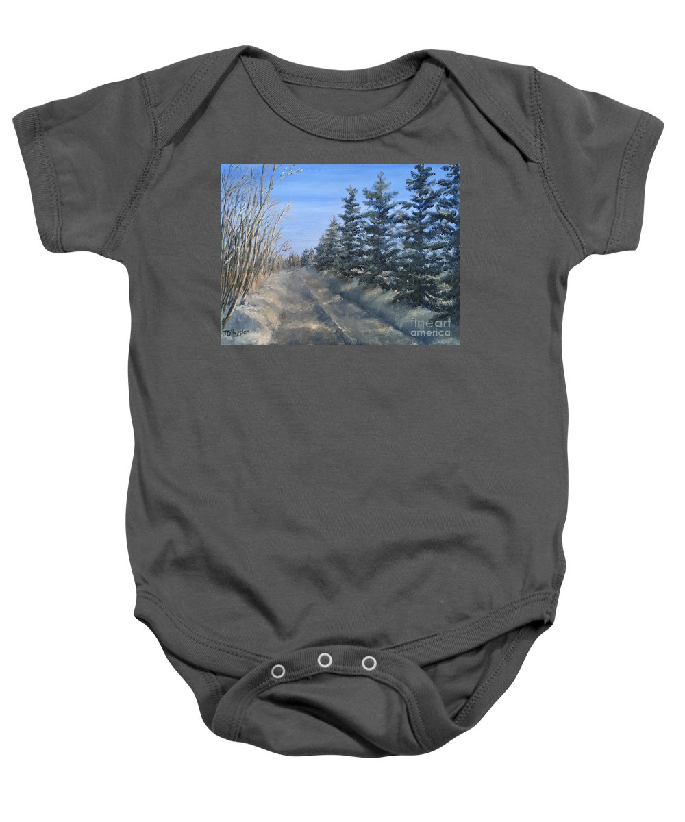 Landscape Baby Onesie featuring the painting Spruce Trees Along A Snowy Road by J O Huppler