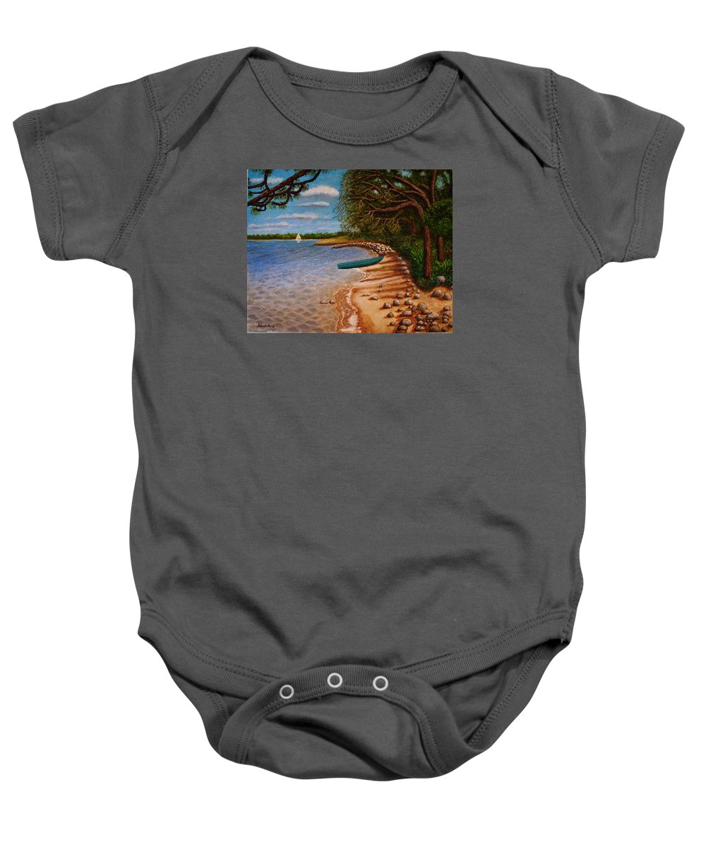 Rocks Baby Onesie featuring the painting St Andrews State Park Panama City Florida by Andrew Pierce