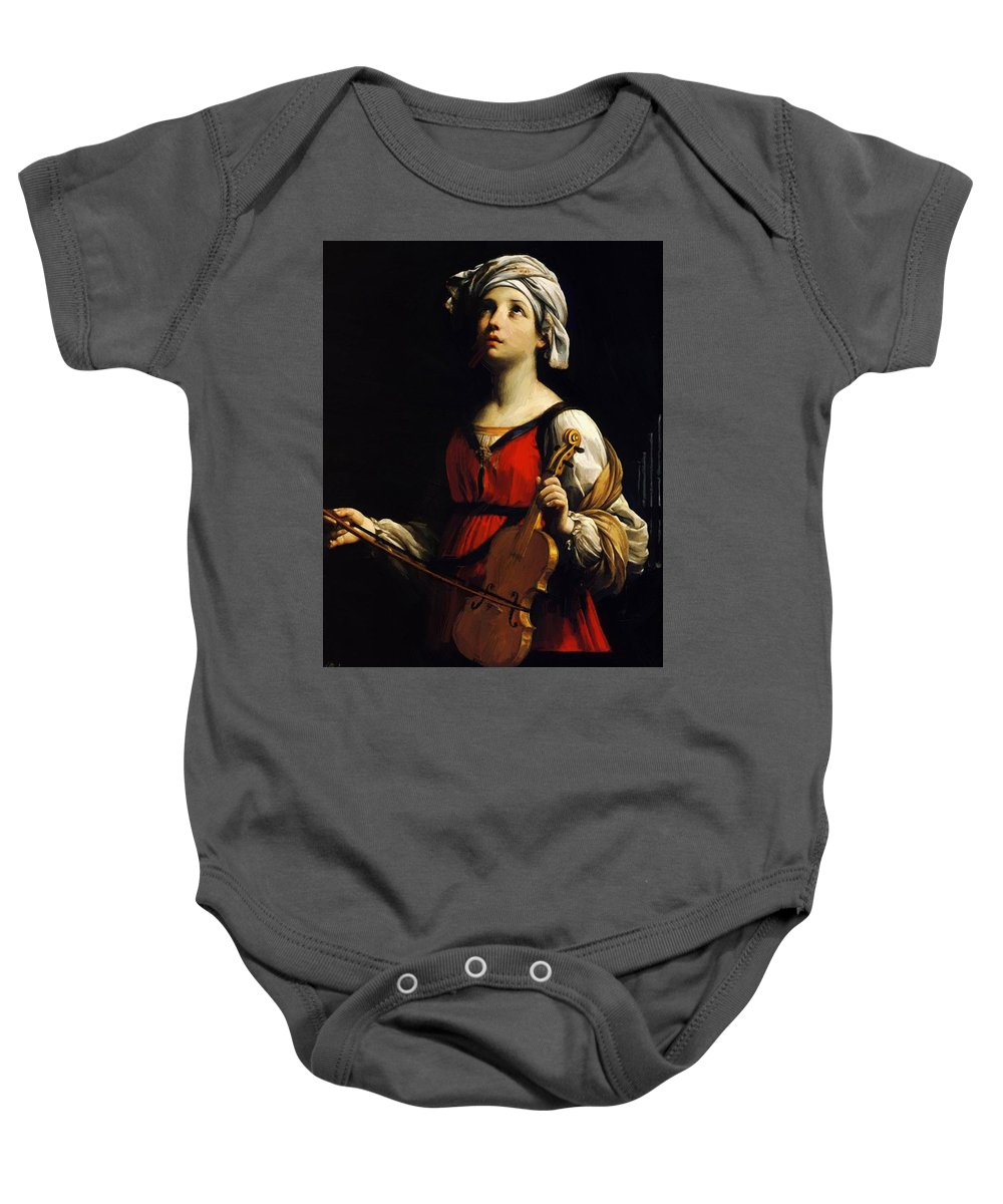 St Baby Onesie featuring the painting St Cecilia 1606 by Reni Guido