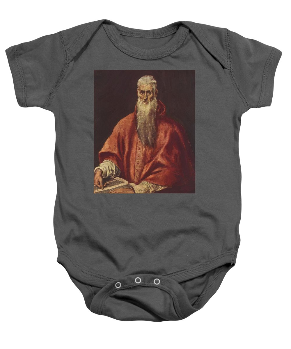 St Baby Onesie featuring the painting St Jerome As Cardinal by El Greco