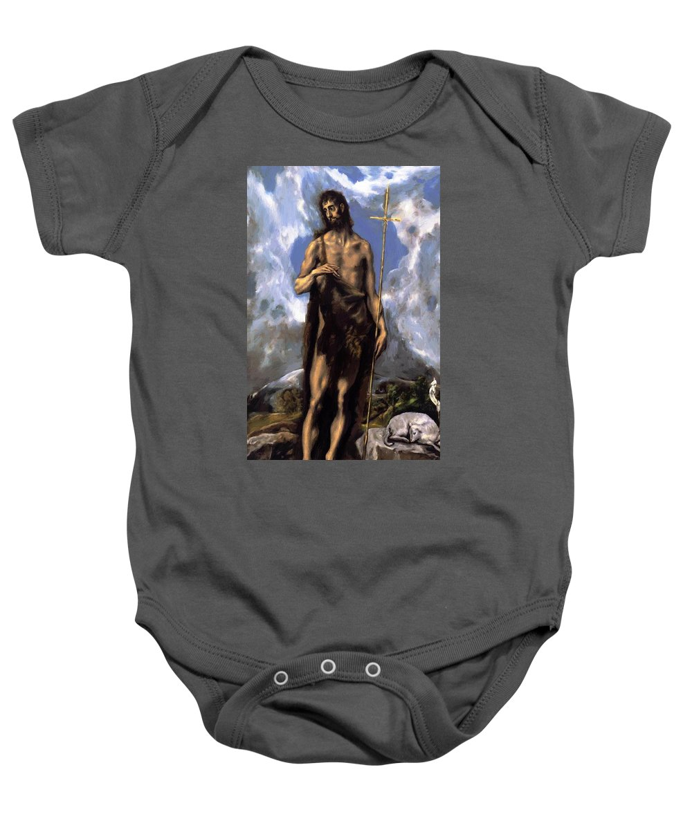 St Baby Onesie featuring the painting St John The Baptist by El Greco