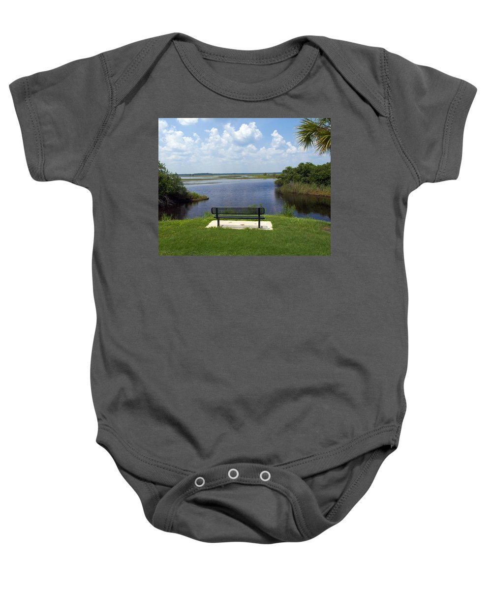 St; Saint; John; Johns; River; Creek; Stream; Water; Waterway; Clouds; Reflections; Look; Over; Over Baby Onesie featuring the photograph St Johns River In Florida by Allan Hughes