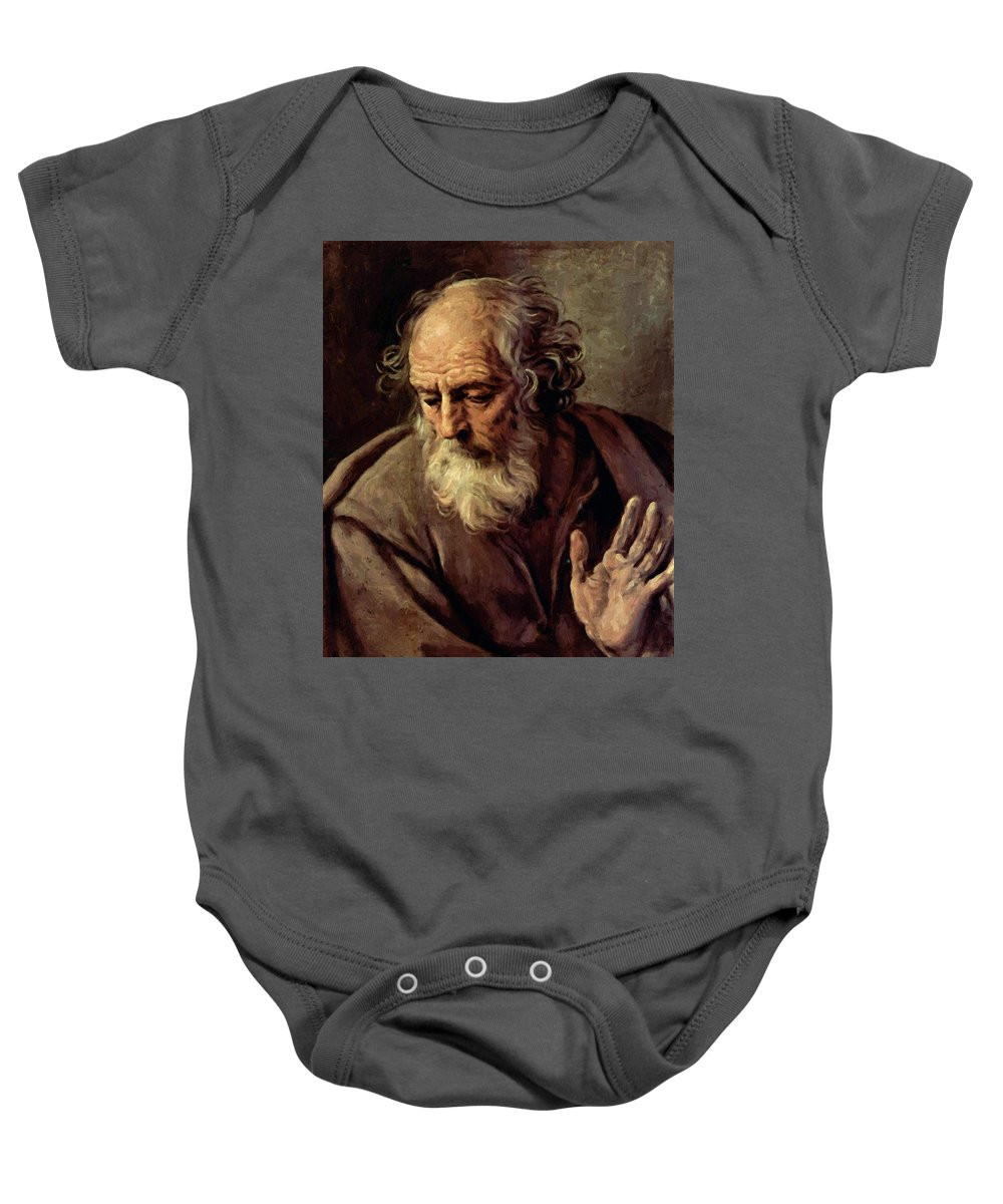 St Baby Onesie featuring the painting St Joseph 1 by Reni Guido