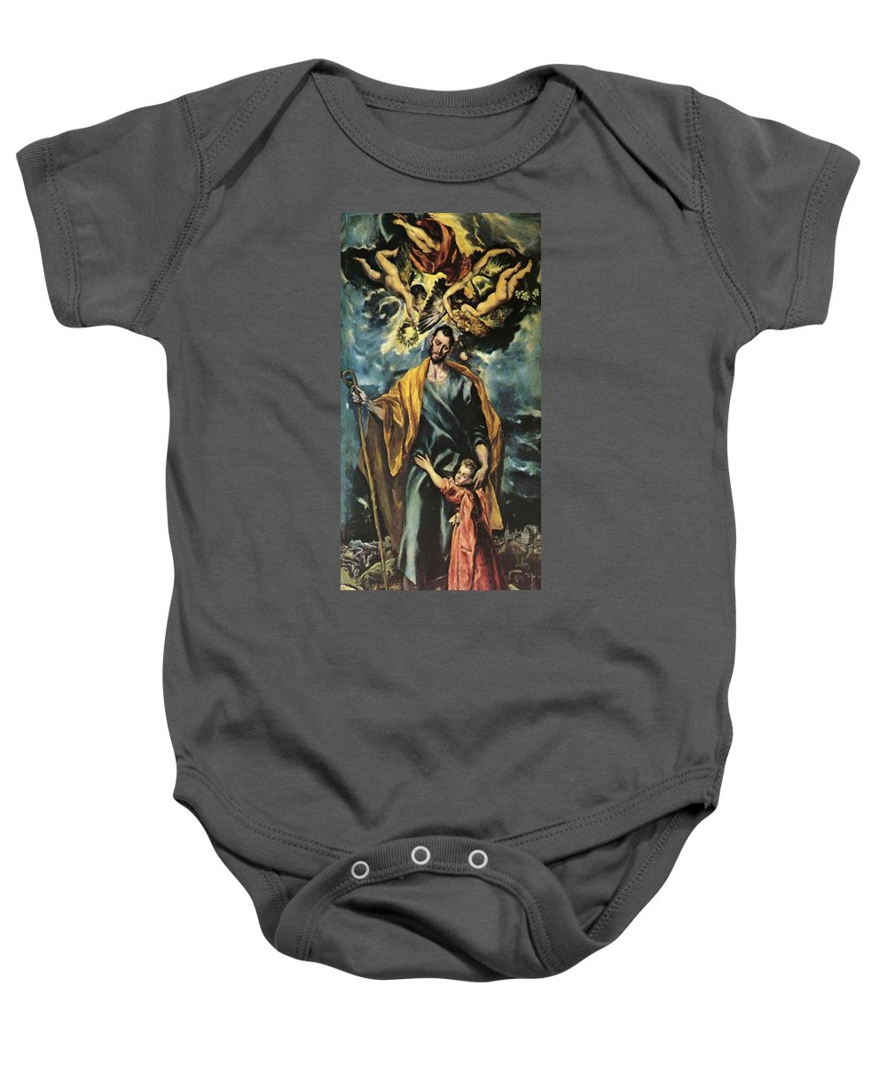 St Baby Onesie featuring the painting St Joseph And The Christ Child 1599 by El Greco