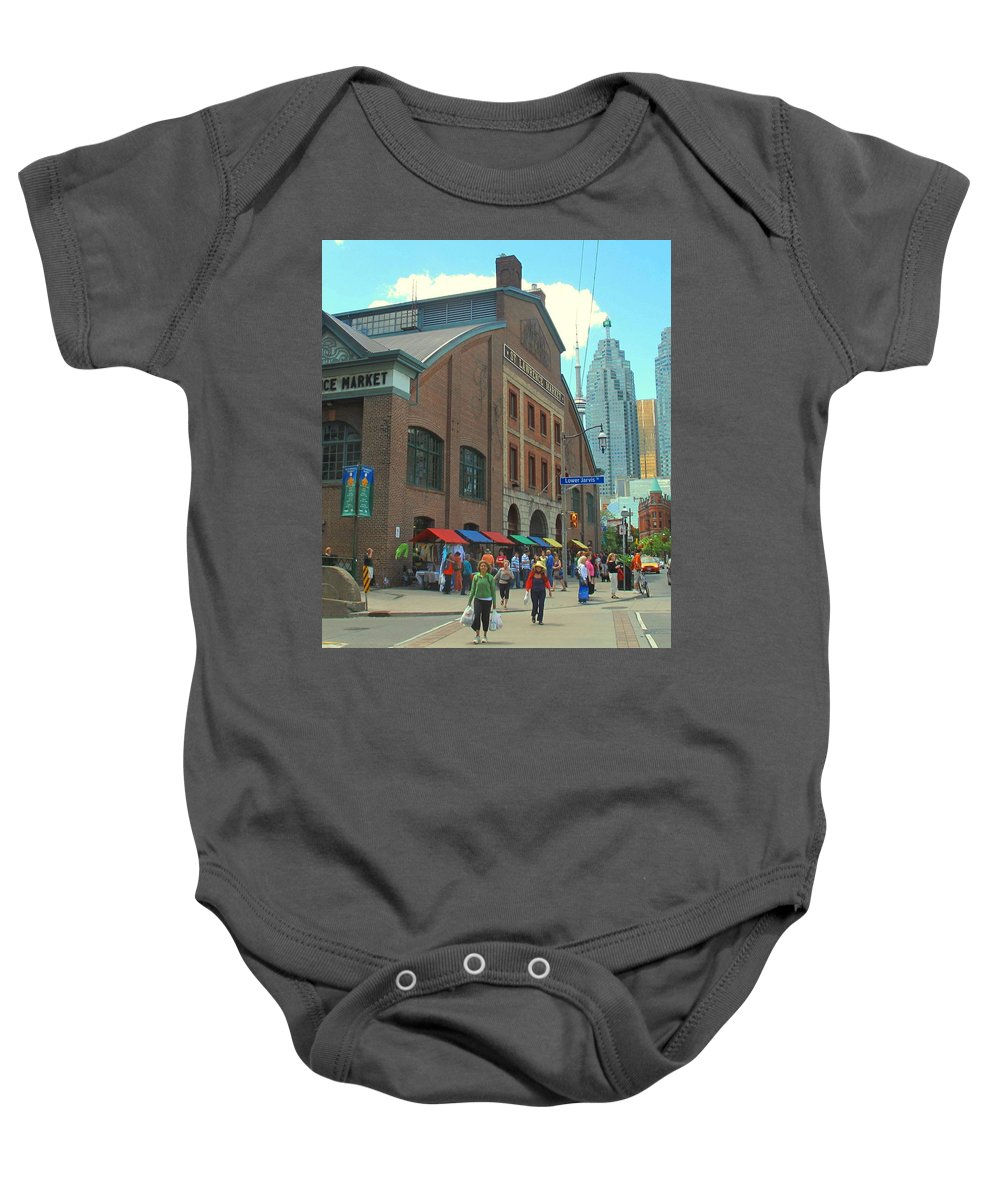 Market Baby Onesie featuring the photograph St Lawrence Market by Ian MacDonald