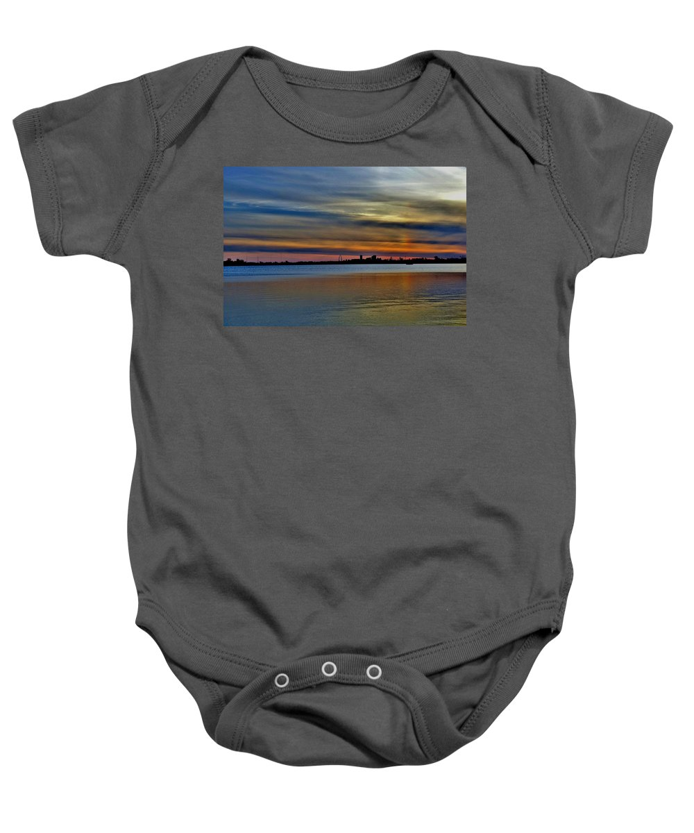 St Louis Sunset Baby Onesie featuring the photograph St Louis Sunset by Debby Lesko