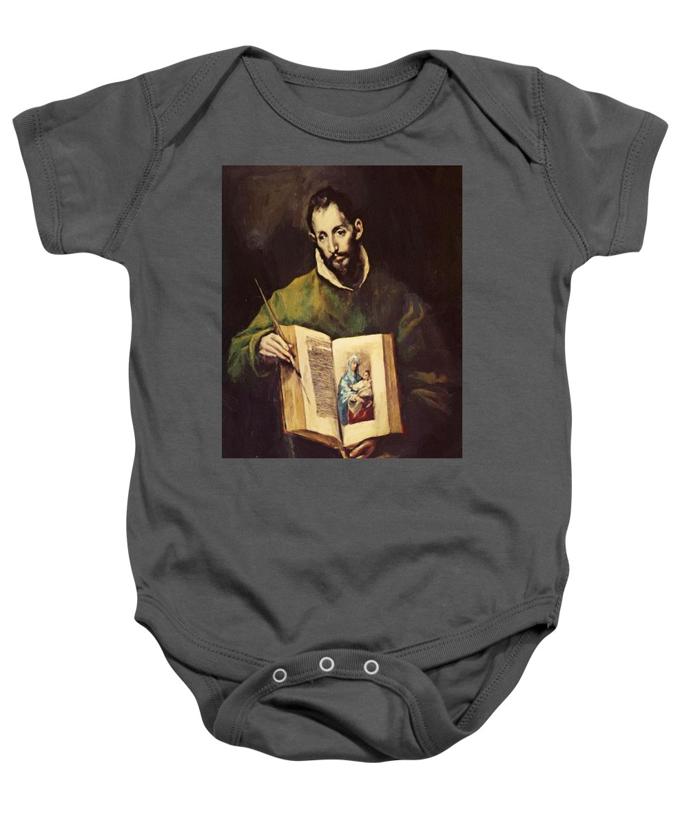 St Baby Onesie featuring the painting St Luke by El Greco