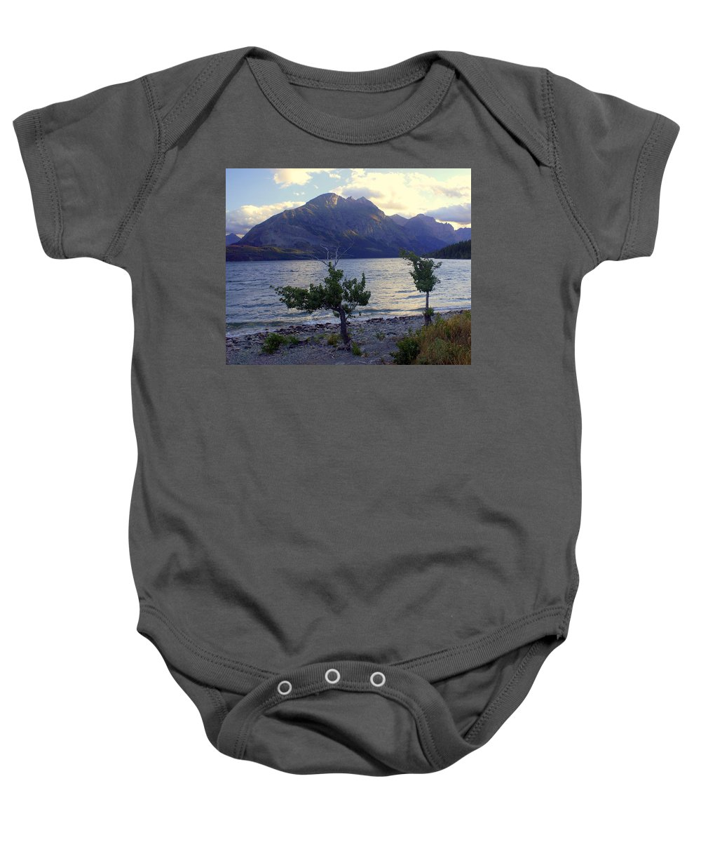 St. Mary's Lake Baby Onesie featuring the photograph St. Mary Lake by Marty Koch