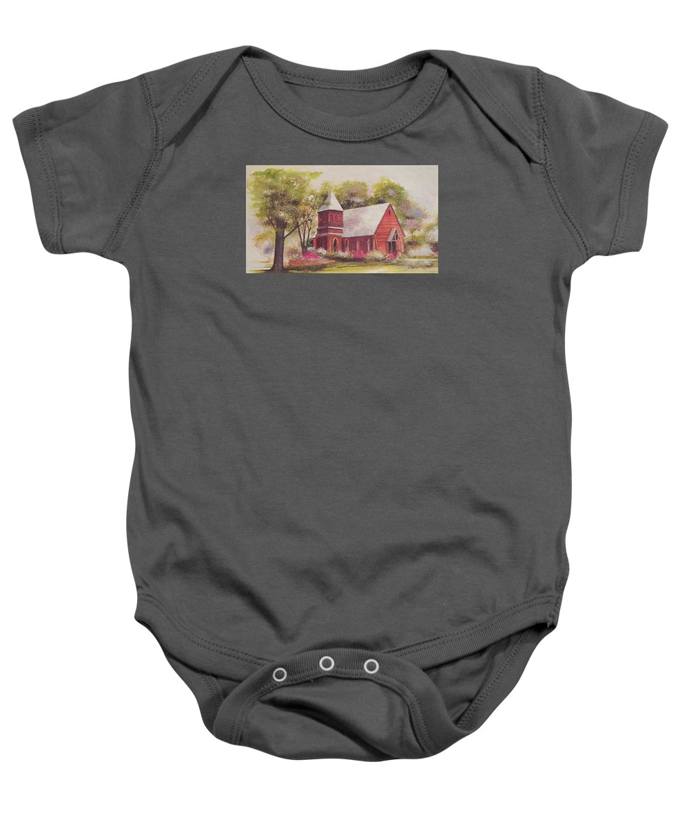 Charles Roy Smith Baby Onesie featuring the painting St. Mary's Chapel by Charles Roy Smith