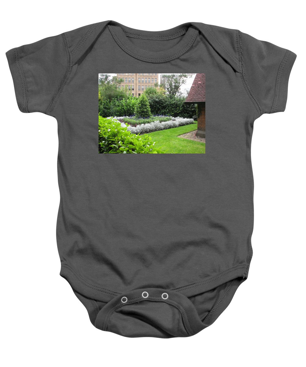 Ireland Baby Onesie featuring the photograph St. Stephen's Garden by Kelly Mezzapelle