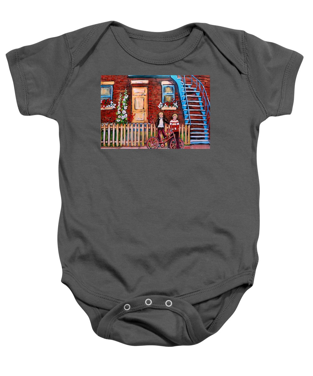 Montreal Neighborhoods Baby Onesie featuring the painting St. Urbain Street Boys by Carole Spandau