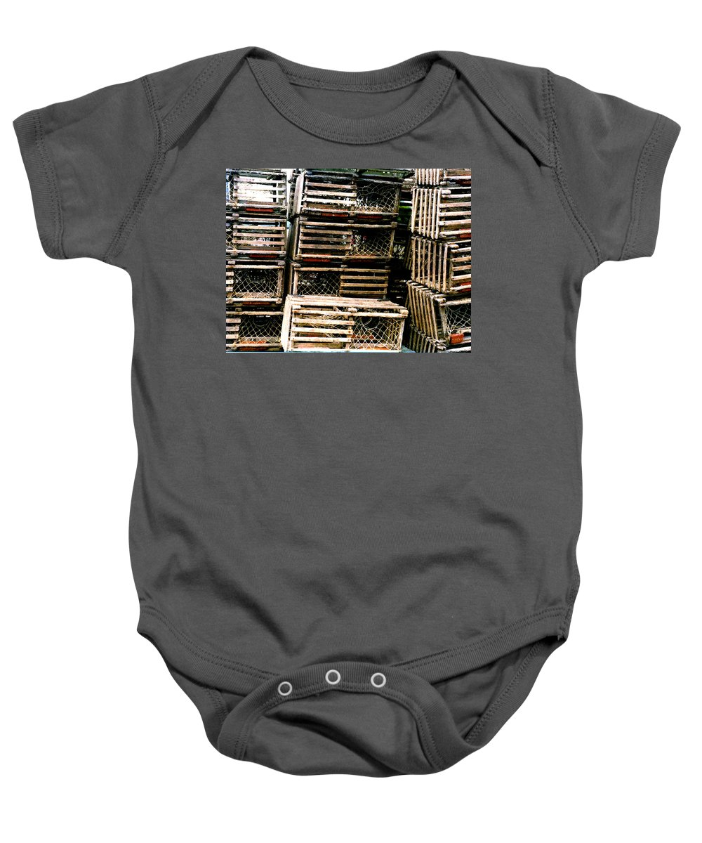 Lobster Traps Baby Onesie featuring the painting Stacked Traps by Paul Sachtleben