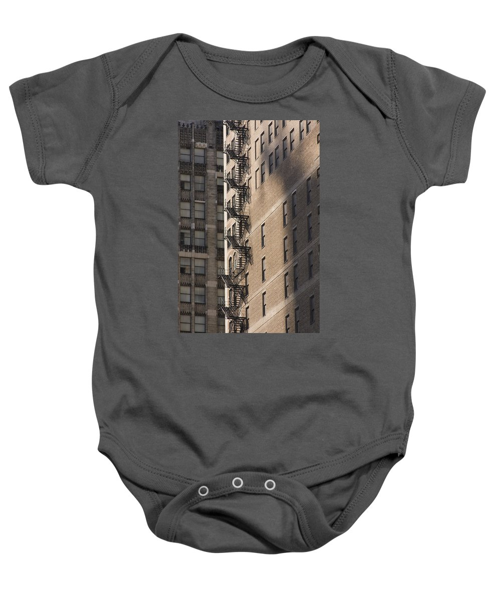 Chicago Windy City Metro Urban Building Stairs Windows Light Shaddow Baby Onesie featuring the photograph Stairs by Andrei Shliakhau