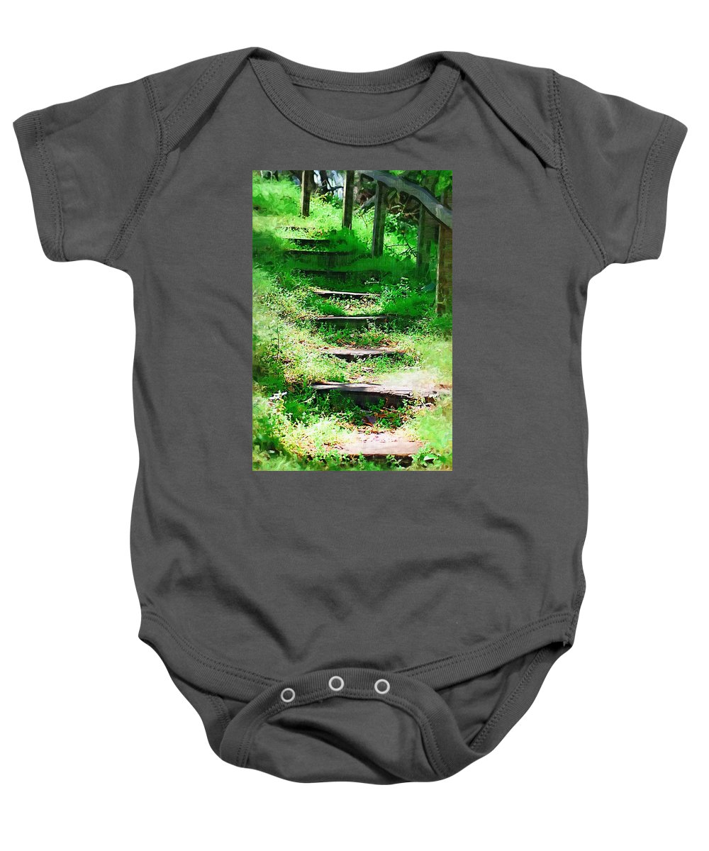 Stairs Baby Onesie featuring the photograph Stairway To Heaven by Donna Bentley