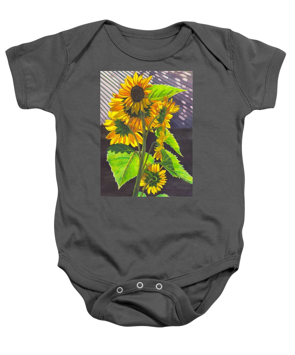 Sunflowers Baby Onesie featuring the painting Stalk Of Sunflowers by Catherine G McElroy