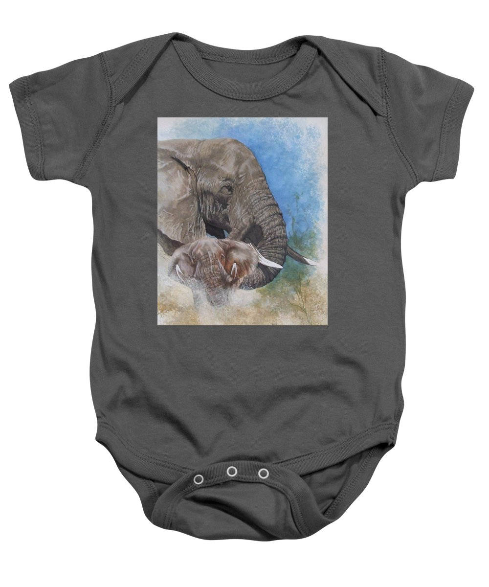 Elephant Baby Onesie featuring the mixed media Stalwart by Barbara Keith