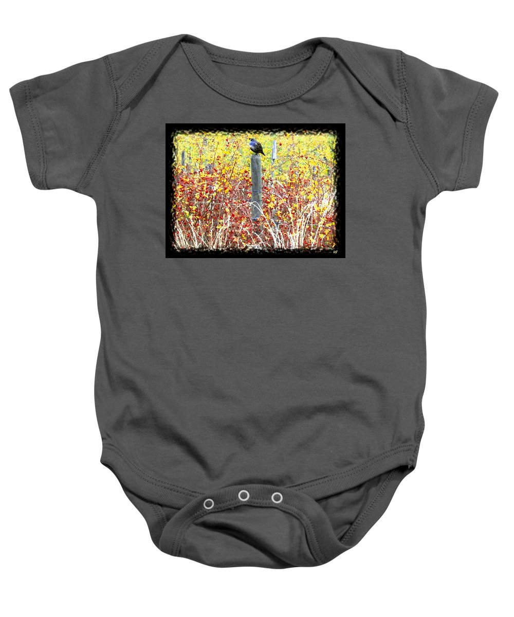 Quail Baby Onesie featuring the digital art Standing Guard by Will Borden