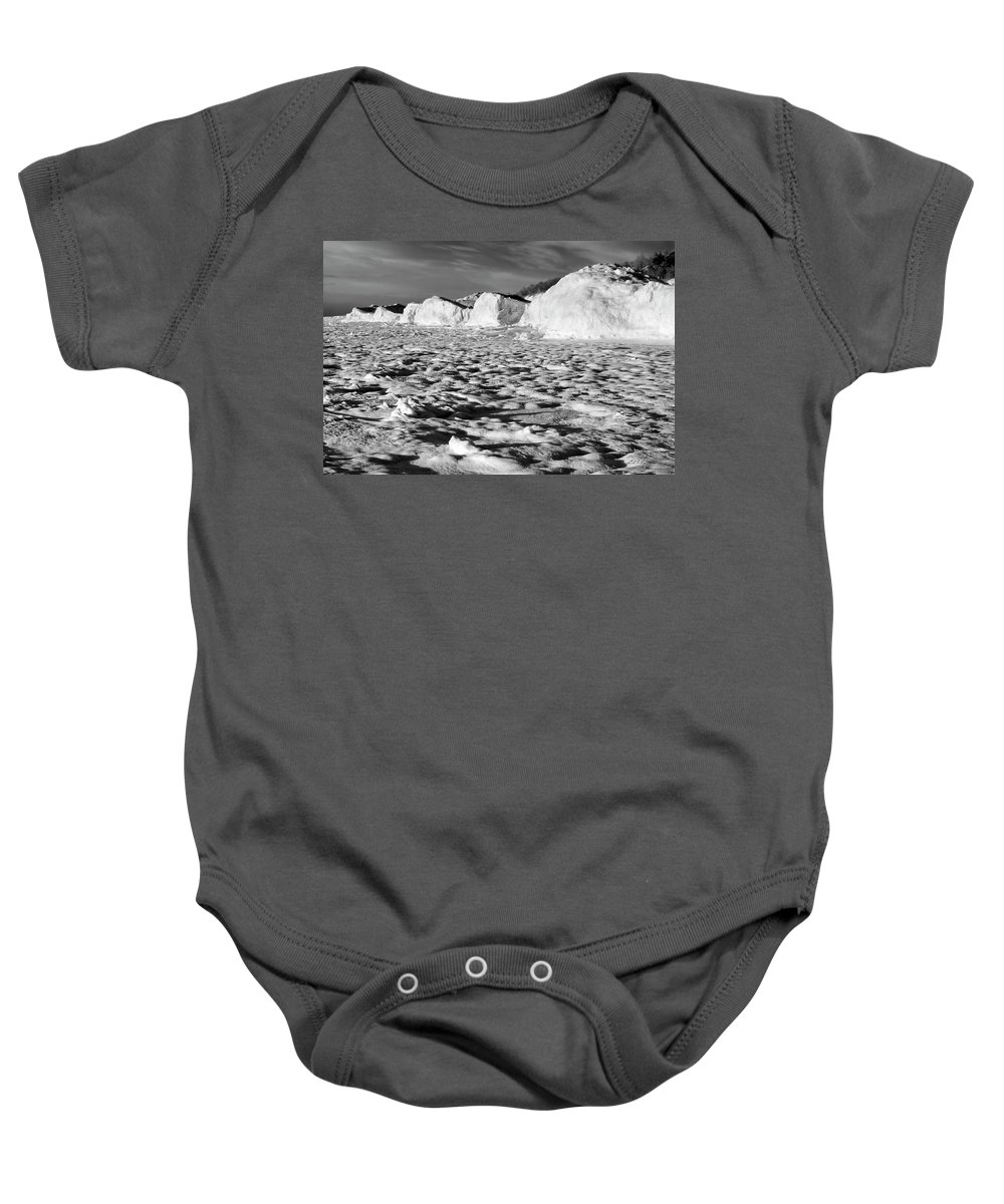 Photography Baby Onesie featuring the photograph Standing On Lake Michigan Ice by Frederic A Reinecke
