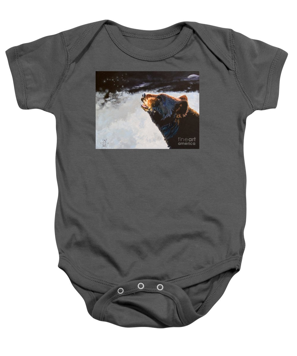 Bear Baby Onesie featuring the painting Star Gazer by J W Baker
