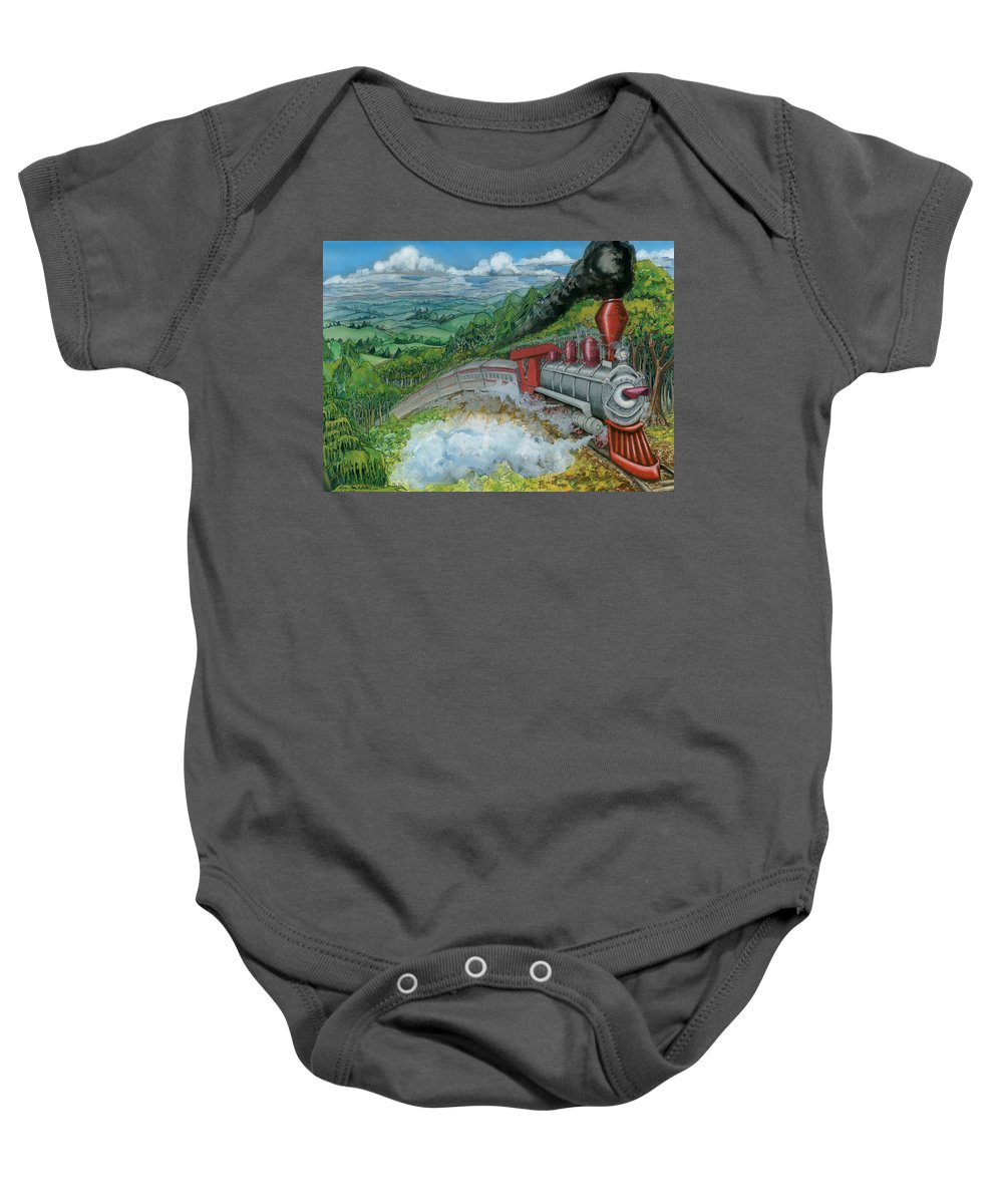 Train Baby Onesie featuring the painting Steam Train by Kevin Middleton