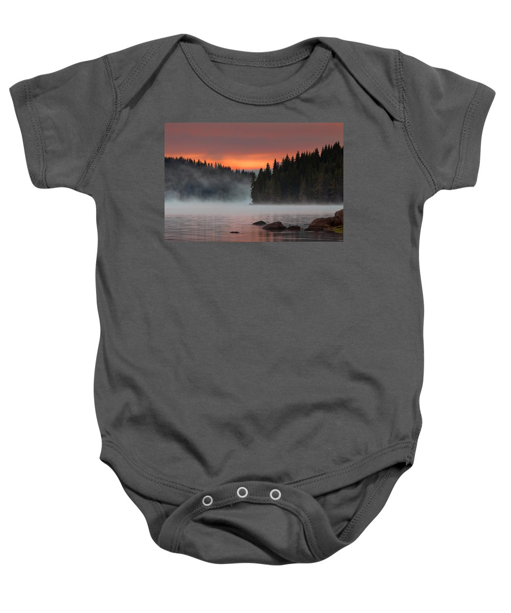 Mountain Baby Onesie featuring the photograph Steaming Lake by Evgeni Dinev