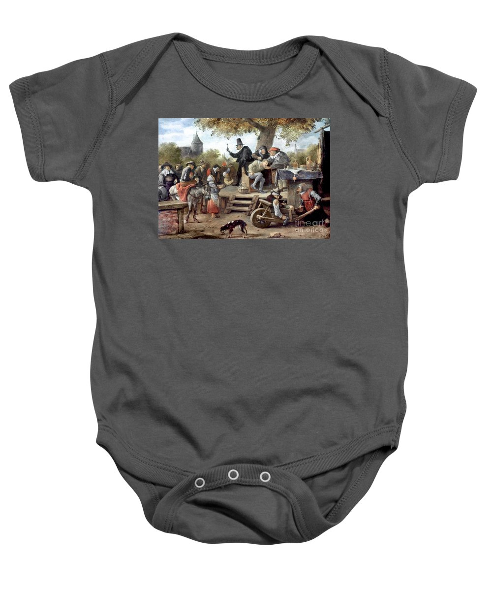 Aod Baby Onesie featuring the photograph Steen: Quack, 17th Century by Granger
