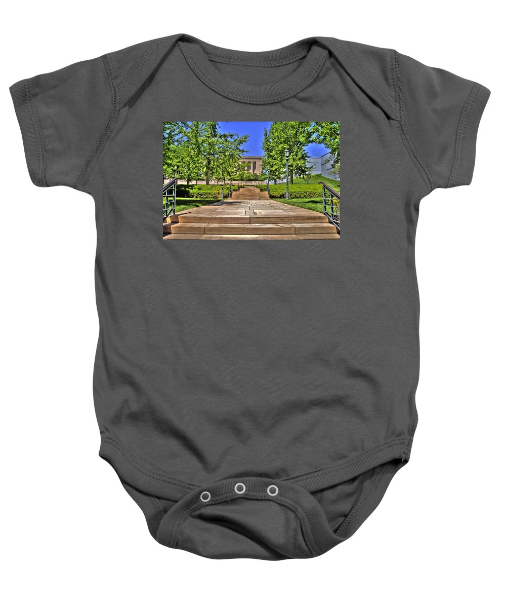 Hdr Baby Onesie featuring the photograph Steps To The Nelson by Timothy Bischoff