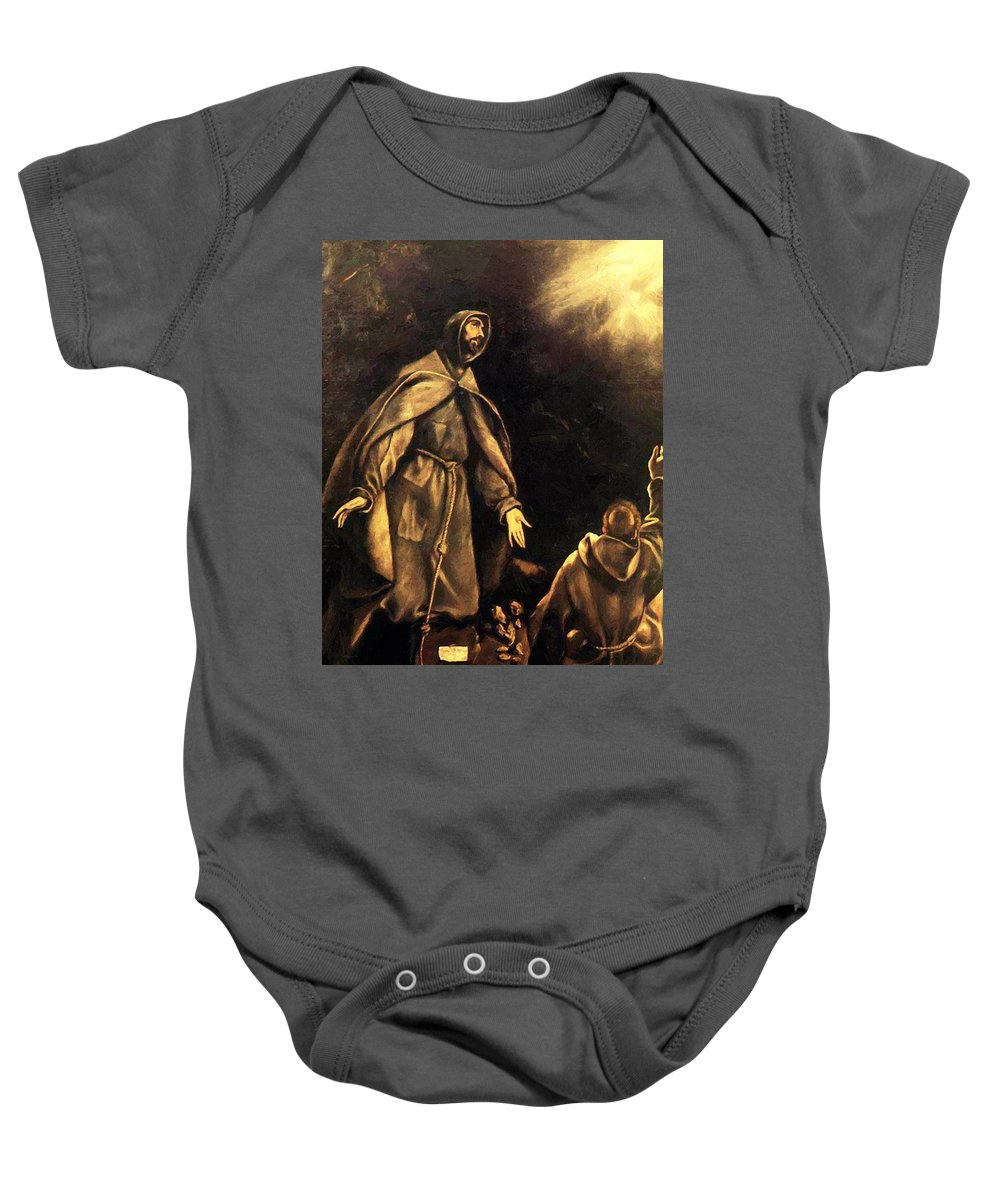 Stigmatisation Baby Onesie featuring the painting Stigmatisation Of St Francis by El Greco