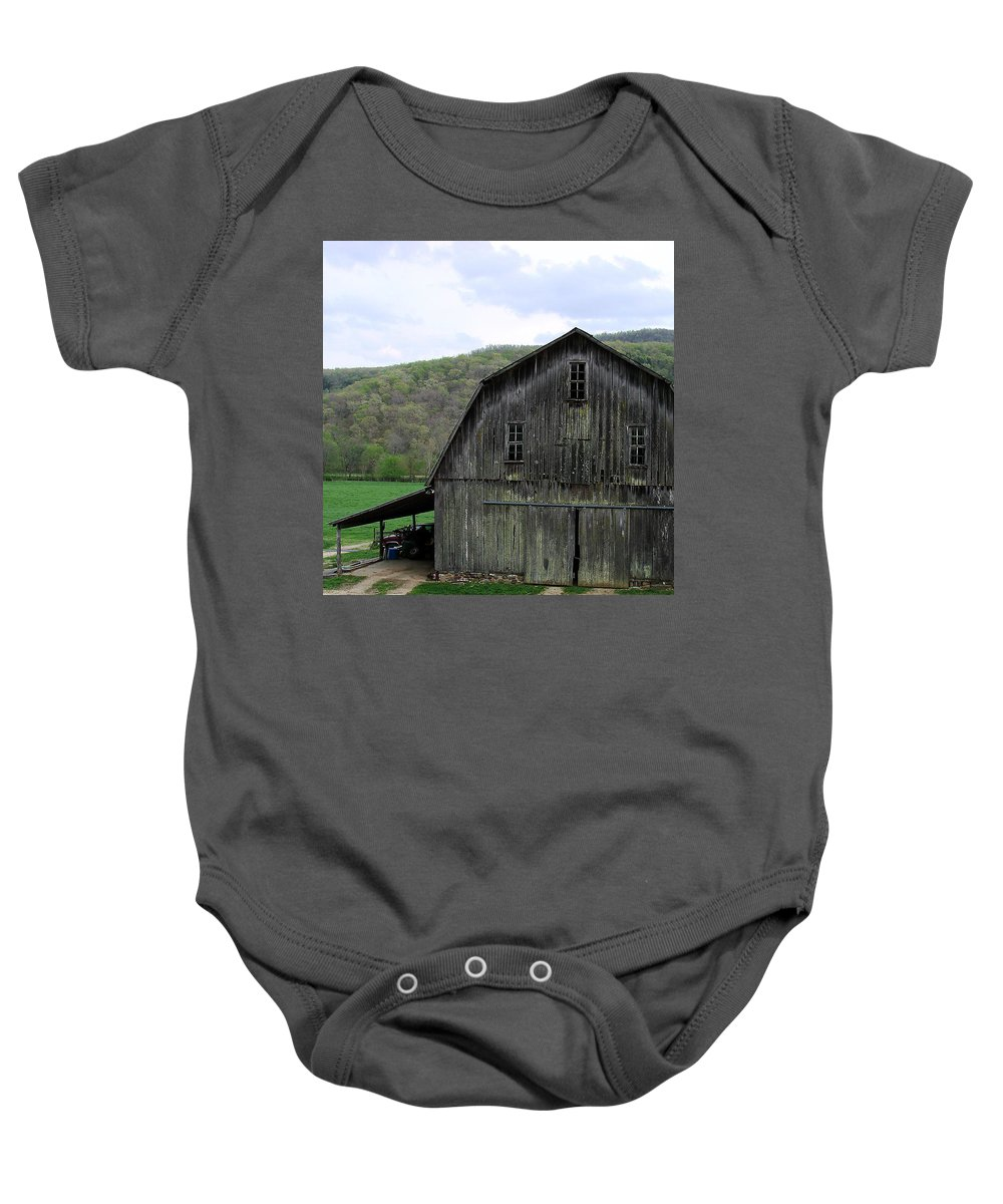 Old Barns Baby Onesie featuring the photograph Still Has A Purpose by Mary Halpin