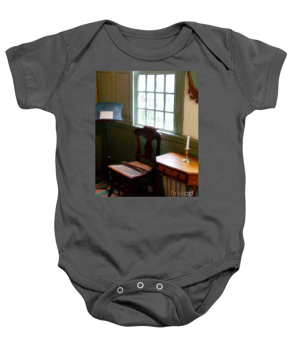 Still Life Baby Onesie featuring the painting Still Life, Stevens House by RC deWinter