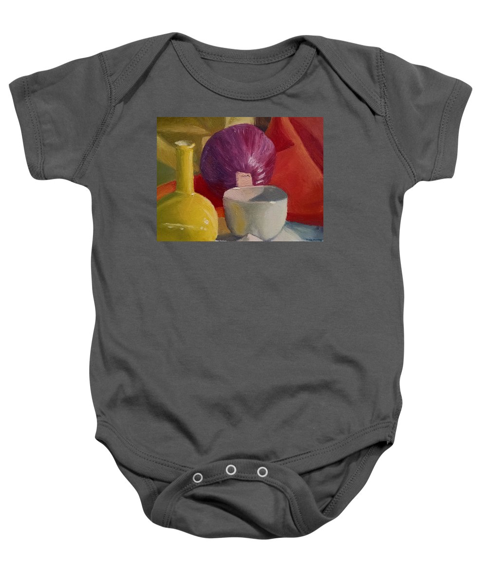 Still Life Baby Onesie featuring the painting Still Life With An Onion by Maddie Morriss