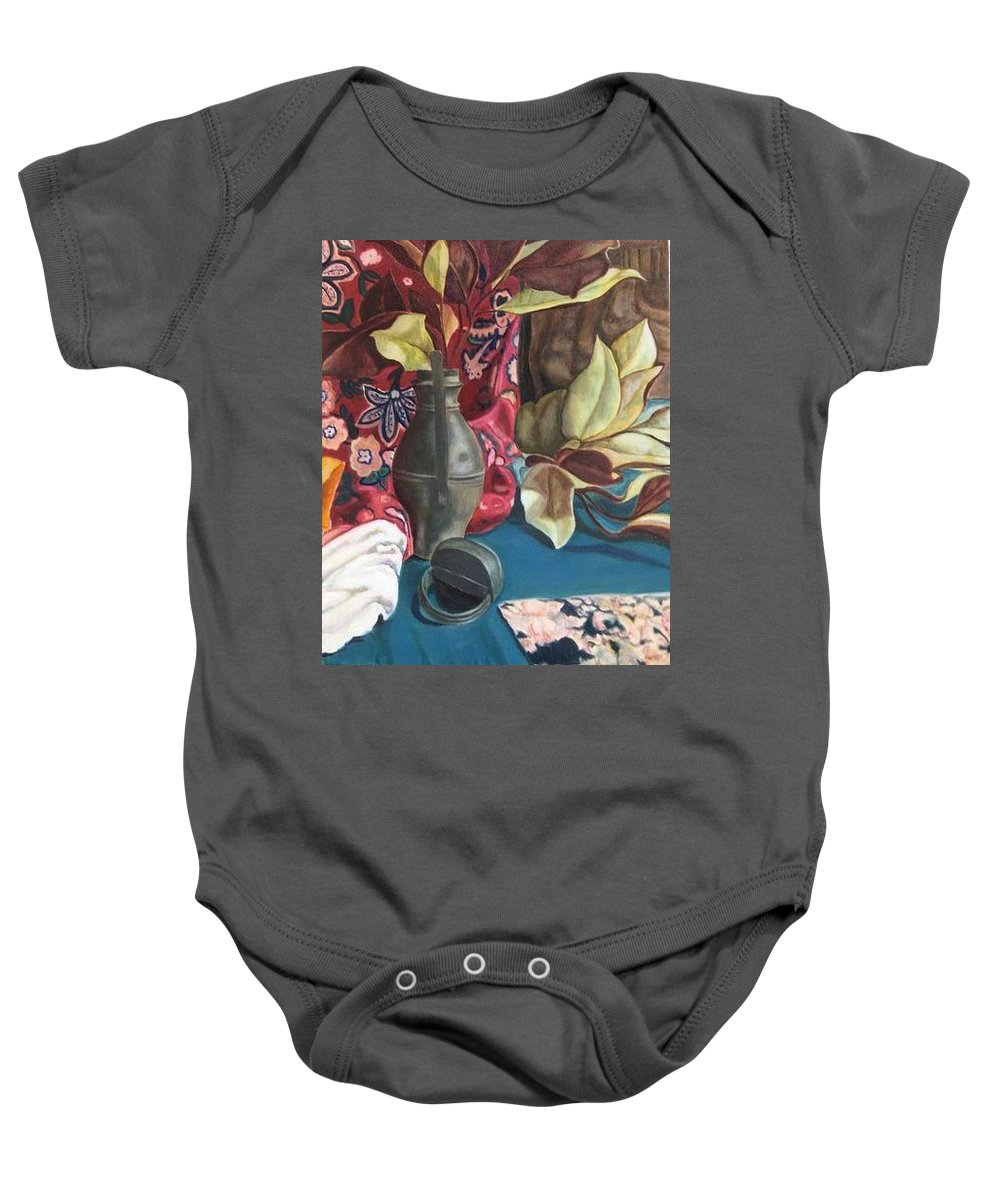 Still-life Baby Onesie featuring the painting Still-life With Magnolia Leaves by Piety Choi