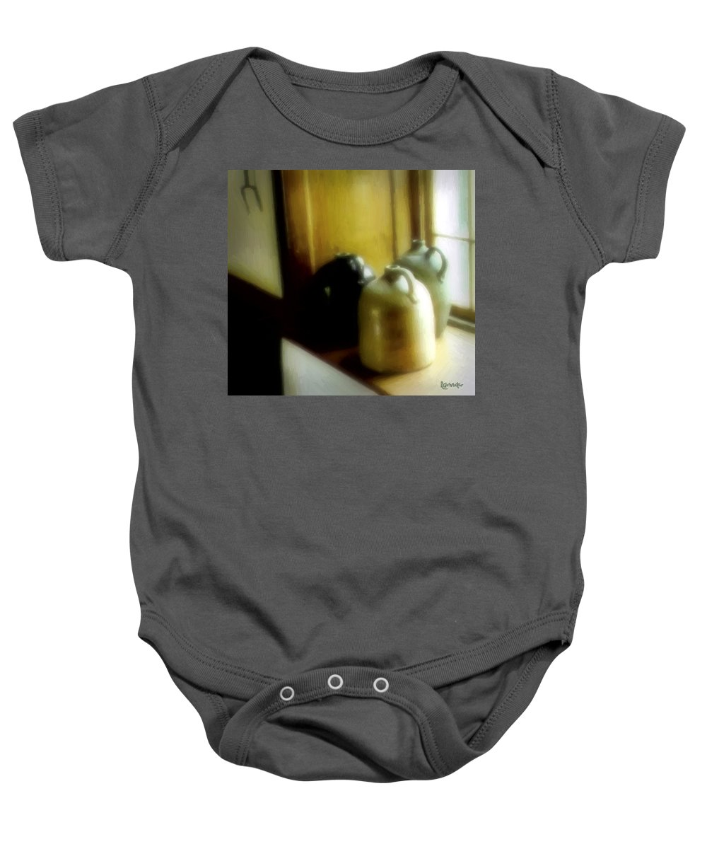 Antiques Baby Onesie featuring the digital art Still Life With Stoneware by RC DeWinter