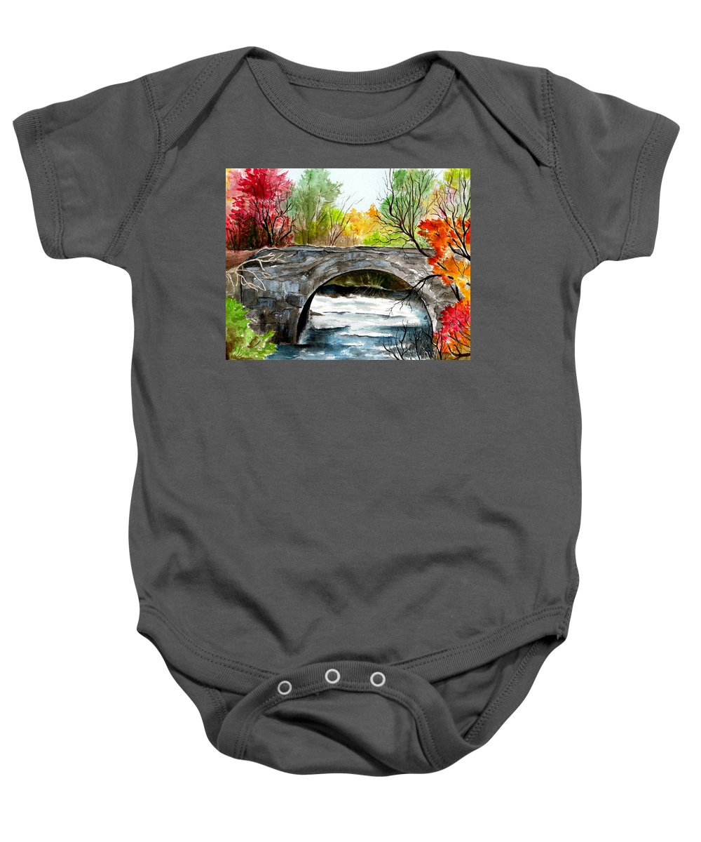 Landscape Baby Onesie featuring the painting Stone Bridge In Maine by Brenda Owen