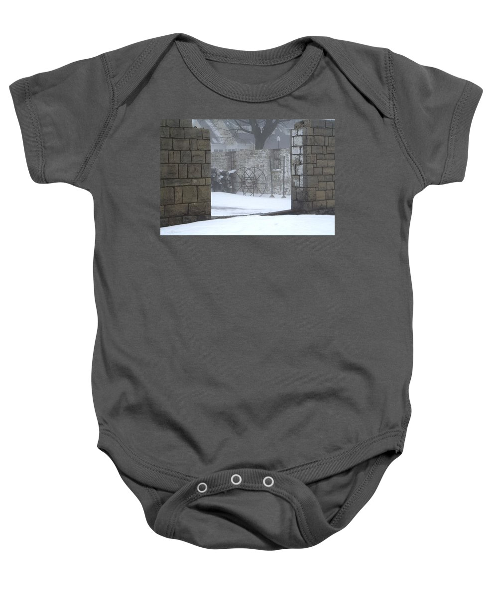 Winter Baby Onesie featuring the photograph Stone Cellar by Tim Nyberg