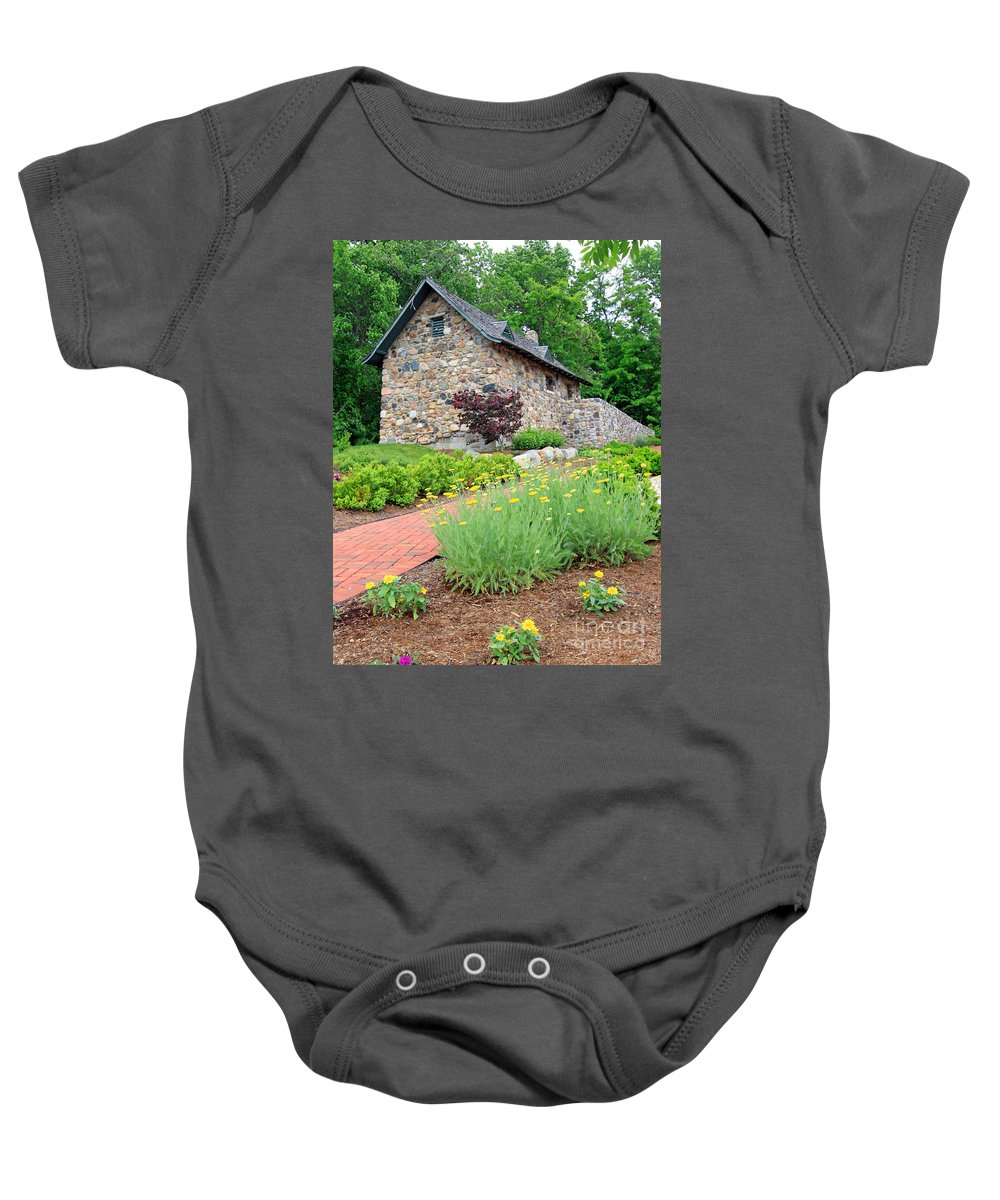 Stone Baby Onesie featuring the photograph Stone House Fishers Indiana by Steve Gass
