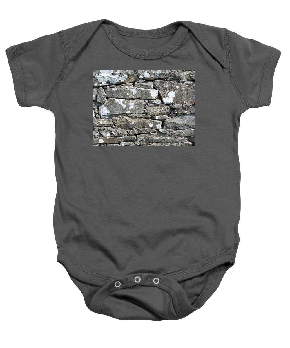 Irish Baby Onesie featuring the photograph Stone Wall Detail Doolin Ireland by Teresa Mucha