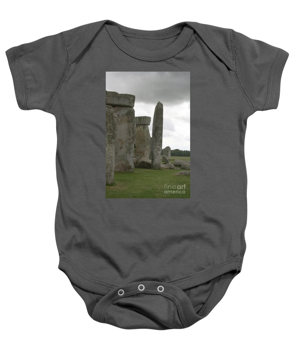 Human Baby Onesie featuring the photograph Stonehenge Side Pillars by Mary Mikawoz