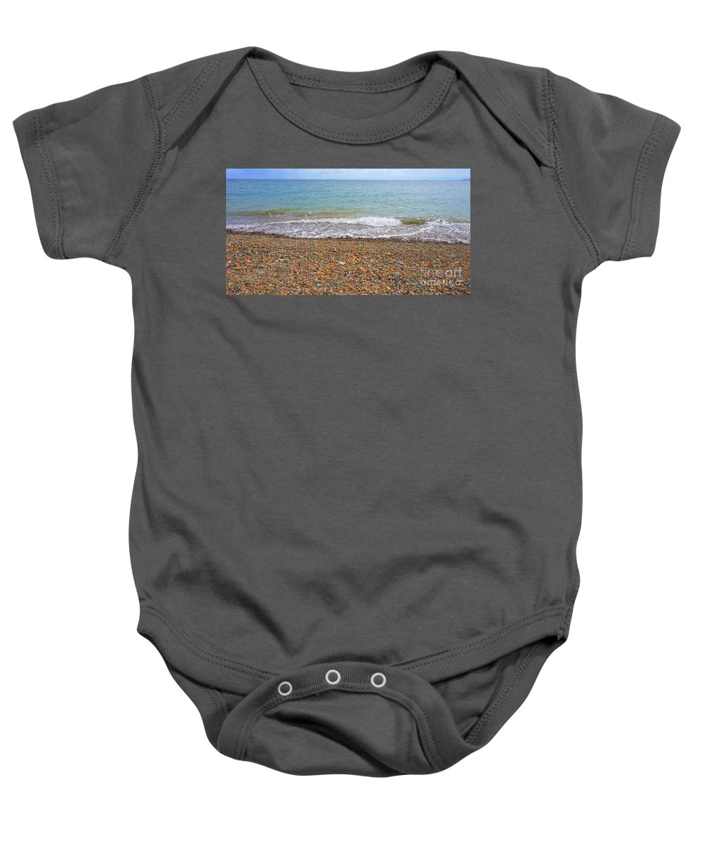 Stone Baby Onesie featuring the photograph Stony Beach by Christopher Shellhammer