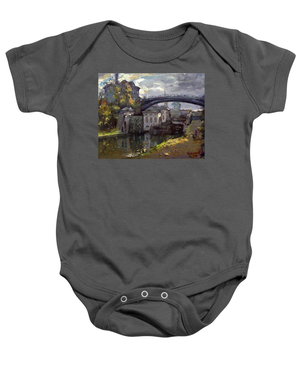 Lockport Locks Baby Onesie featuring the painting Storm Aproach At Lockport Locks by Ylli Haruni