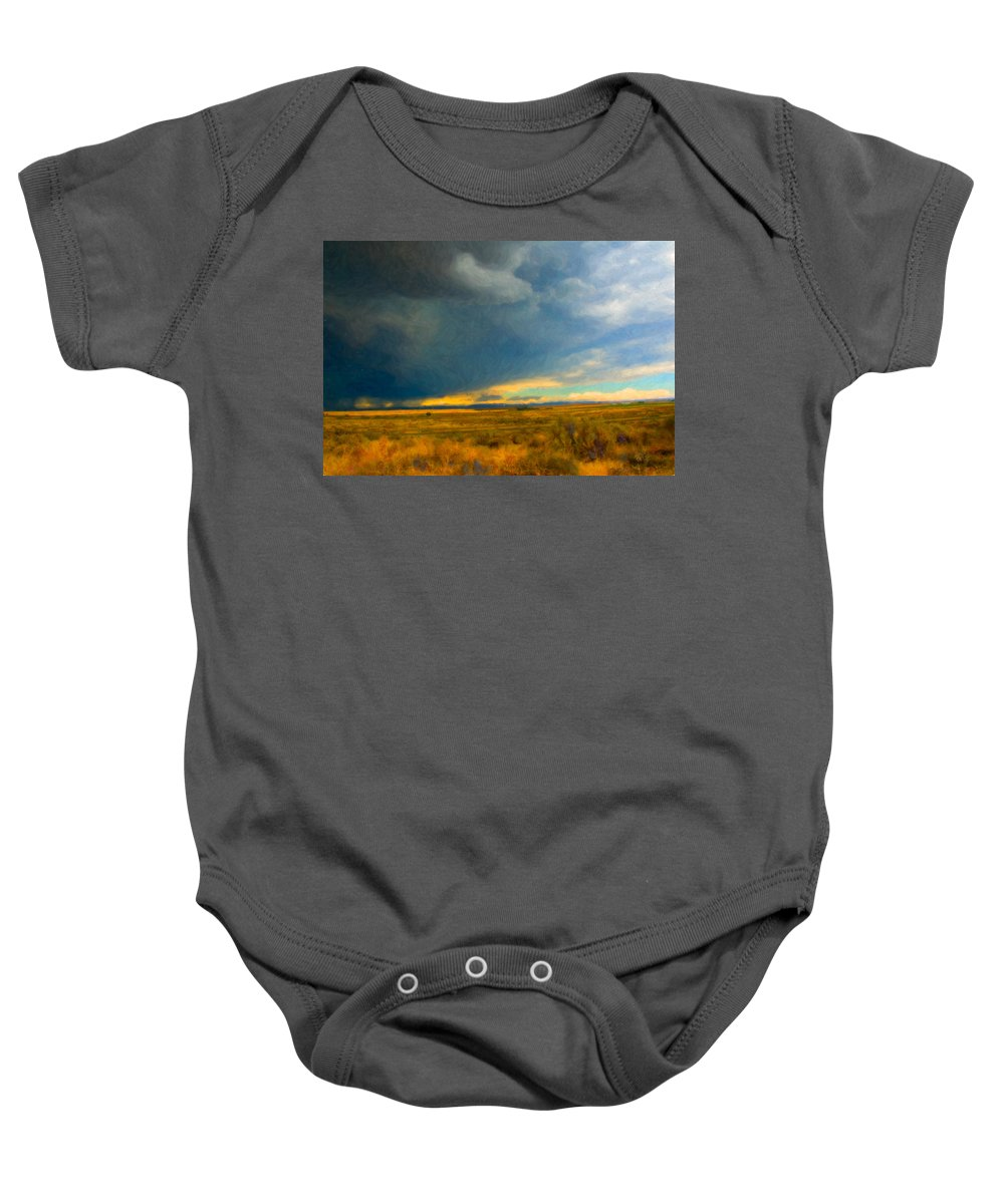 Storm Baby Onesie featuring the photograph Storm by Betty LaRue