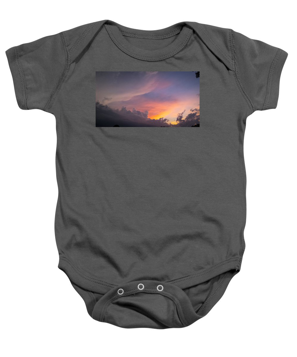 Storm Baby Onesie featuring the photograph Storm Clouds 1 by Jennifer Kohler
