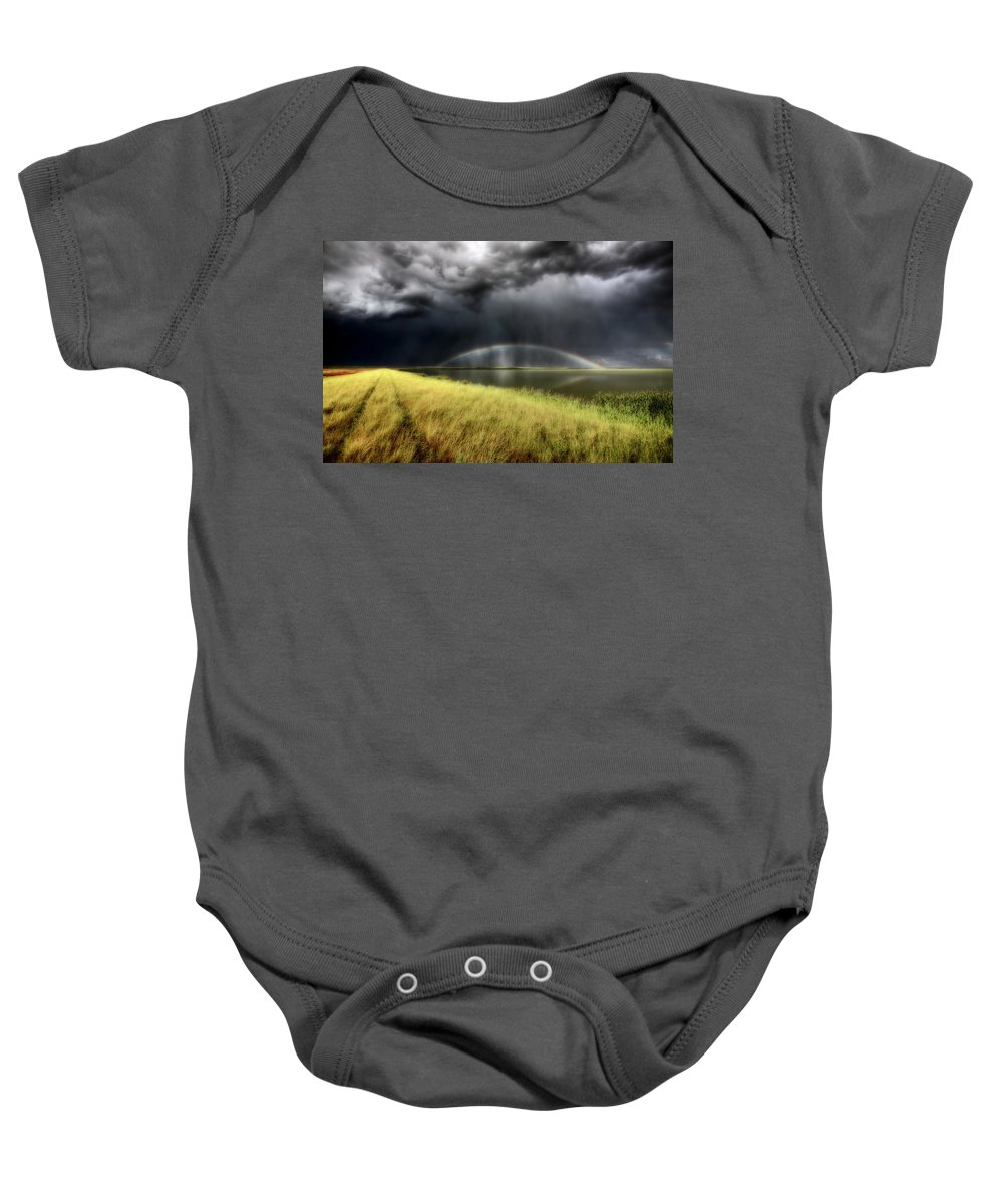 Storm Baby Onesie featuring the digital art Storm Clouds And Rainbow Over Chaplin Lake Marshes by Mark Duffy