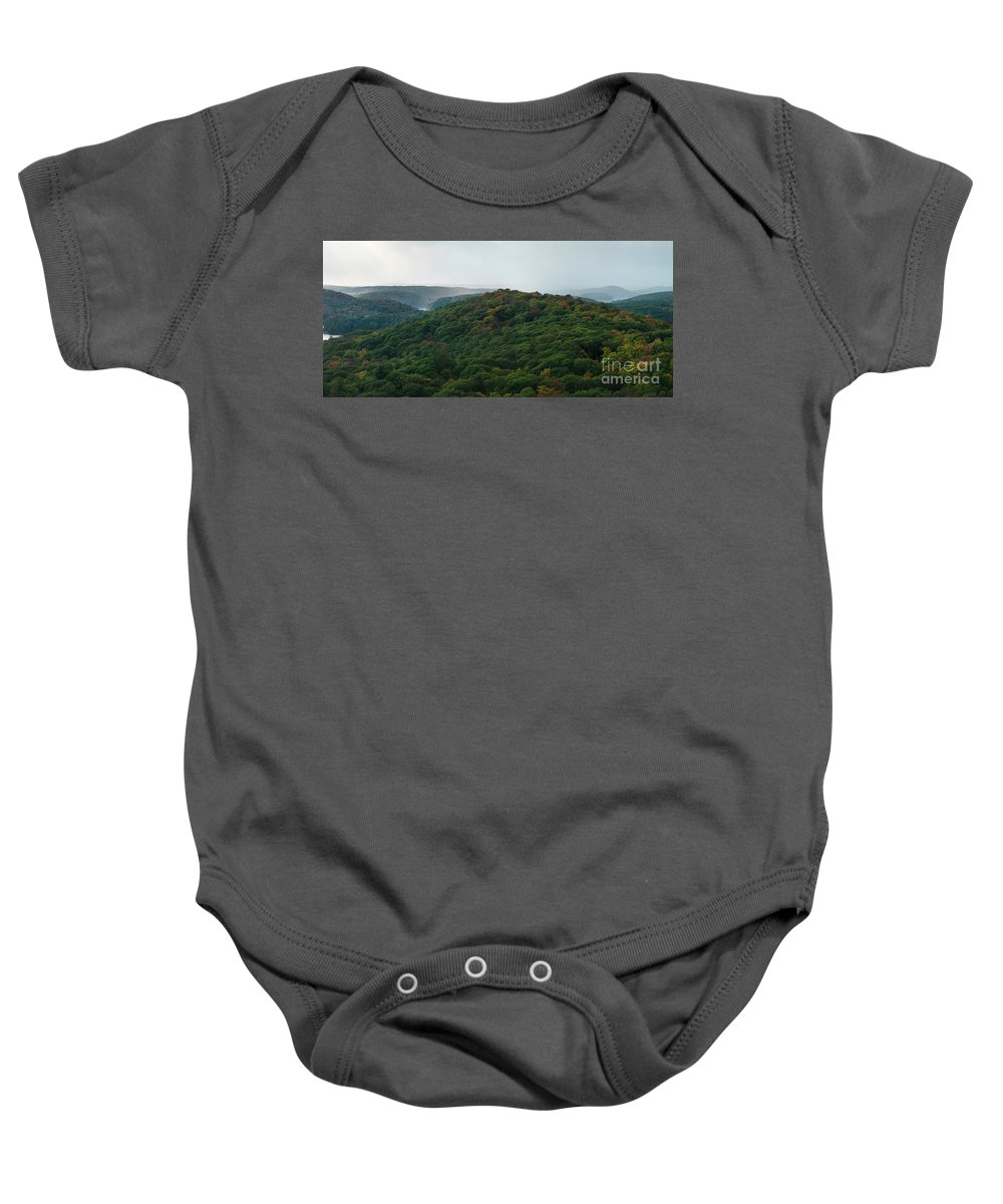 Autumn Baby Onesie featuring the photograph Storm Clouds Over Fall Nature Scenery by Oleksiy Maksymenko