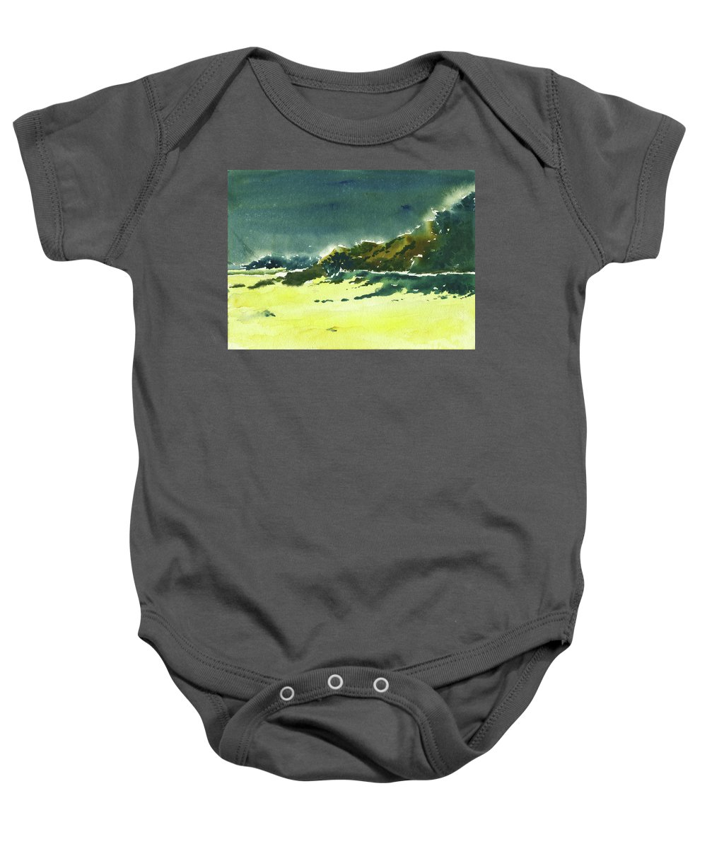 Storm Baby Onesie featuring the painting Storm Is Brewing by Anil Nene