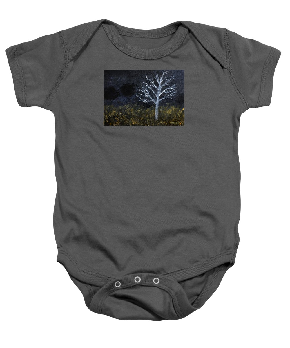 Abstract Baby Onesie featuring the painting Storm Night by Dick Bourgault