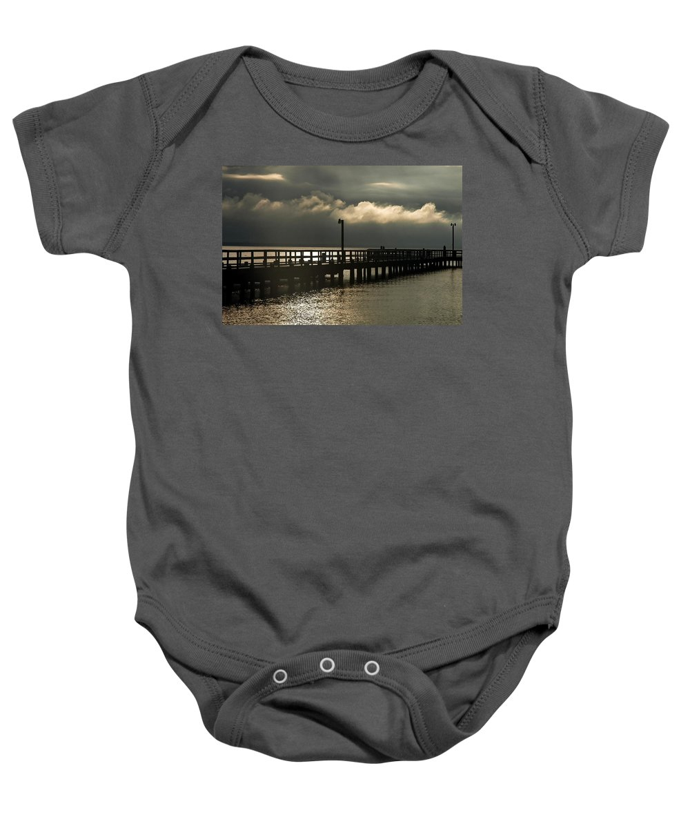 Clay Baby Onesie featuring the photograph Storms Brewin' by Clayton Bruster