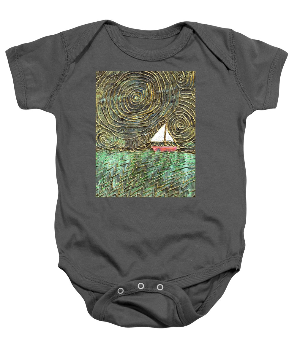 Storm Baby Onesie featuring the painting Stormy Night by Wayne Potrafka